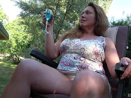 Fat granny gets fucked by two pulsating cocks in the back yard