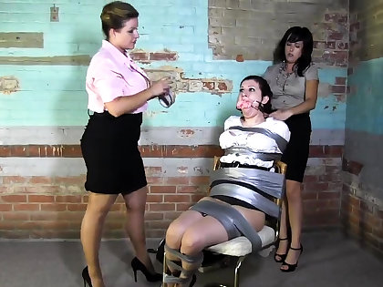 Lesbian BDSM Chained together with Electro Tortured MILF Related