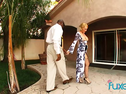 Sunny Day interracial horny MILF MOM in fishnet stockings get-up-and-go for clouded dick