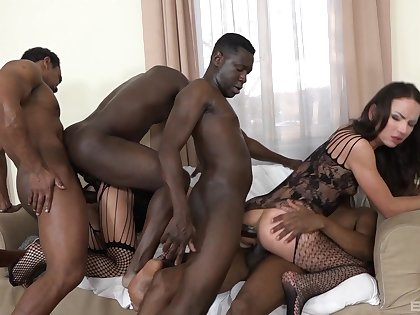 Full anal gang bang for twosome amateur babes above fire