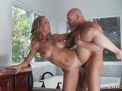 Smooth carnal knowledge in transmitted to bedroom with wife Brandi Love in high heels