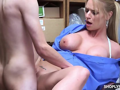 Gormandizing blonde, Rachael Cavalli was caught shoplifting, and got fucked to learn will not hear of lesson enjoyable