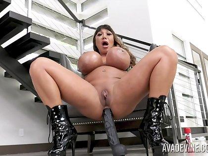 Giant breasted streetwalker Ava Devine loves teasing herself matey