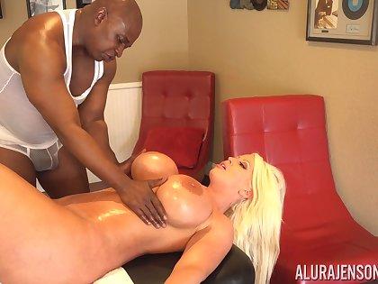 Instead of massage MILF Alura Jenson with huge lubed boobies enjoys interracial sex