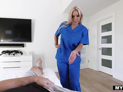 Safe keeping stepmom Nina Elle gives her horny stepson some sexual treatment