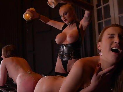 Kayla Callow & Liona Levi & Lulu Love in Smoking Hot: Lesbian Girlhood Ass Fucked By Busty Dominatrix - KINK
