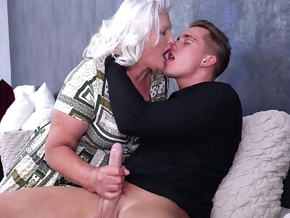 Granny blows and fucks young misapplication boy