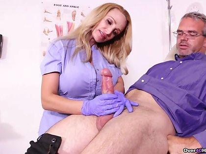 Older man loves this busty nurse in scenes of real handjob