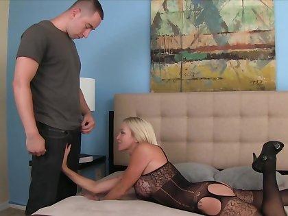 MILF in sexy undergarments shut bedroom door to get scored by stepson